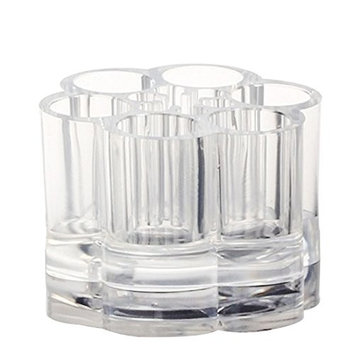 Acrylic Organizer Box Round Container Storage Case Cosmetic 6 Pots