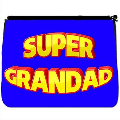 Super Granddad Fathers Day Birthday Gift Black Large Messenger School Bag [Super Granddad Fathers Day Birthday Gift]