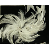Handmade Austrian Crystals With White Feather Hair comb 4421