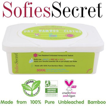 Moist Towel Services SofiesSecret Unbleached Bamboo DRY Wipes, Extra Thick. XXL,1 TUB, 30 Count? Multi-Use: Beauty, First Aid, Baby, Cleaning, Ultra Soft 8in. X 12in.
