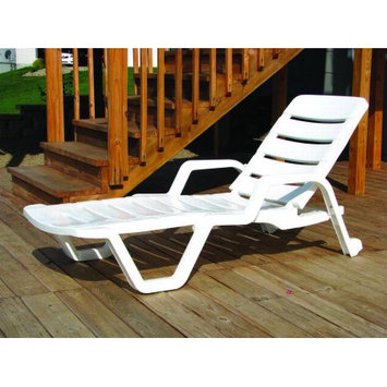 Adams Mfg Corp. 8010-48-3700 White Chaise Lounge Resin - Stackable