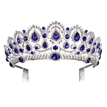 Gorgeous Silver Queen Crystal Crown Headband Rhinestone Wedding Princess Tiara Bridal Party Birthday Pageant Headpieces