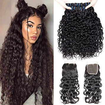 VIPbeauty Hair with Closure 16 18 20 with a 14 Inch Closure Free Part Indian Water Wave Human Hair 3 Bundles with Closure