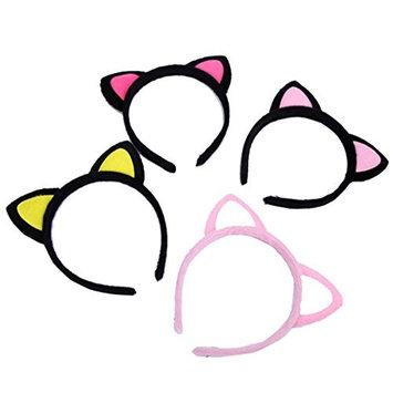 4pcs Cute cat ear headband hairpin plush headband hair jewelry ear card