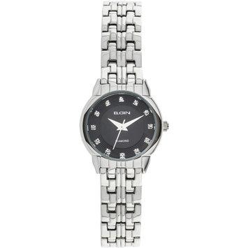 Elgin Women's Silver-Tone Round Case Black Sunray Genuine Diamond Dial Bracelet Watch