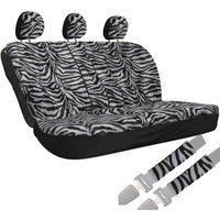 Oxgord 8-Piece Velour Zebra Striped Animal Print Low Back Rear Bench Car Seat Cover