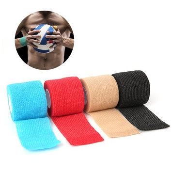 """Self-Adhesive Wrap Stretch sports Bandage-MDS Elastic Cohesive Non-Woven Bandage, FDA Approved, for Wrist, Ankle Sprains & Swelling, 2"""" x 5 Yards, Red, 6 Rolls"""