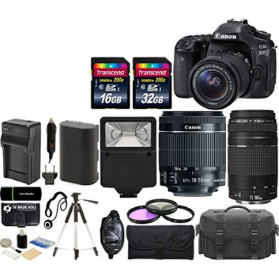 Canon EOS 80D 24.2MP Wi Fi Digital SLR Camera with 18 55mm IS STM Canon EF 75 300mm III Lens 32G