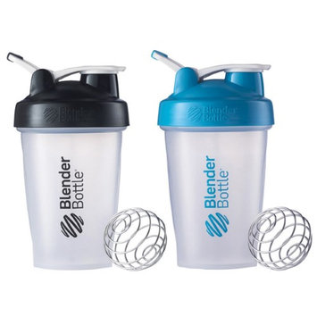 Blender Bottle 2-Pack Classic 20oz Shaker w/ Loop Top- Clear/Black & Clear/Aqua