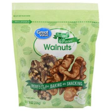 Wal-mart Stores, Inc. Great Value Walnuts Halves & Pieces, 8 oz