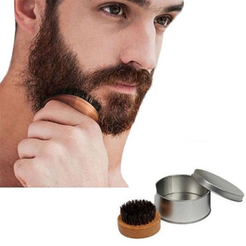 Men's Beard Oil Brush Mustache Care Solid Bamboo Wood Boar Bristles Comb with Case