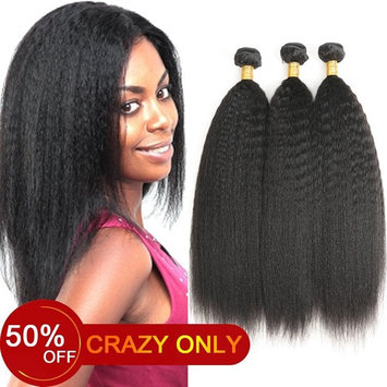 Aligogo Kinky Straight Hair 3 Bundles 8A Yaki Human Hair Weave 100% Unprocessed Brazilian Virgin Remy Sew in Hair Extensions Natural Black (100+/-5g)/pc