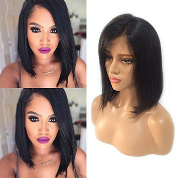 Short Bob Lace Front Wigs with Bangs Off Black Side Part Human Hair Lace Frontal Wigs Glueless Shoulder Length Human Hair Wig for Black Women Straight Hair 10'' 1B Natural Black+Free Wig Net