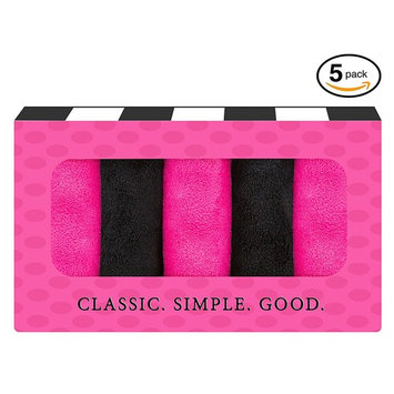 Makeup Remover Cloth (5 pack Black/Pink) Chemical Free Cleansing Towel - Wipes Face Clean