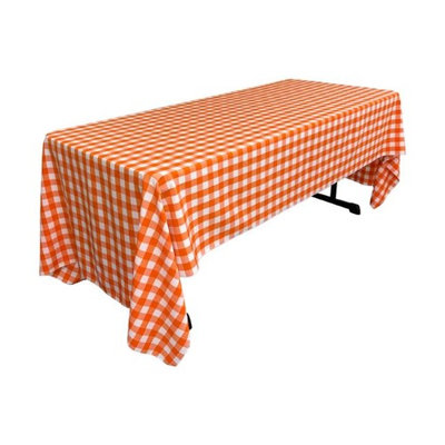 LA Linen TCcheck60x144-OrangeK48 Polyester Gingham Checkered Rectangular Tablecloth White & Orange - 60 x 144 in.