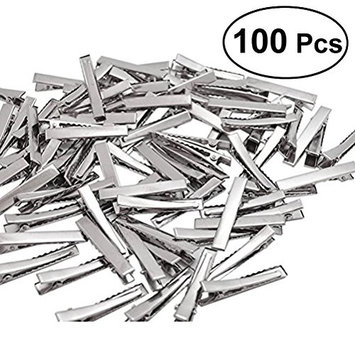 Frcolor 100Pcs Silver Tone Barrette Blank Hair Clips Great for DIY hair bows Beads Jewelry Making (100 x 4.5cm)
