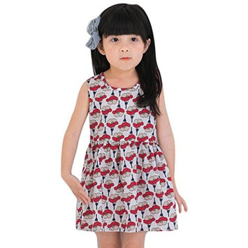 Hot Baby Dress! AMA(TM) Toddler Kids Baby Girls Flower Print Sleeveless Princess Party Tutu Dresses (2/3T, Red 2)