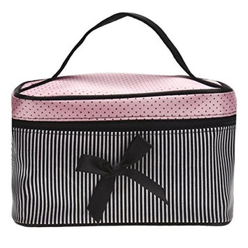Start Square Stripe Bow Cosmetic Cases Makeup Organizer Tool Bag Toiletry Bags
