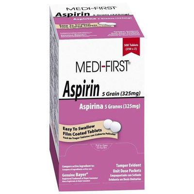 Medi-First Pain Relief Aspirin 325mg, 5 Boxes ( 2500 tablets ) MS-71215