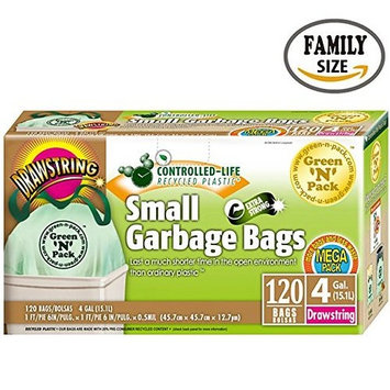 Green'N'Pack 120 Count Drawstring Small Garbage Bags, 4 gallon