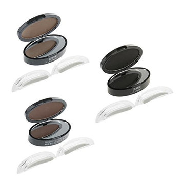 MagiDeal 3 Colors/Set New Eyebrow Shadow Definition Makeup Brow Stamp Stamper Powder Palette (Dark Gray,Light Brown, Bright Brown)