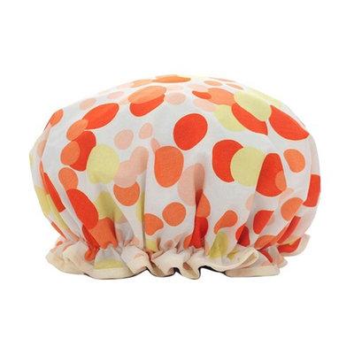 Women Shower Cap,Waterproof Polka Dot Double Layer Elastic Bathing Cap