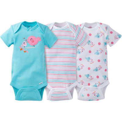 born Baby Girl Onesies Bodysuits Assorted, 3-Pack