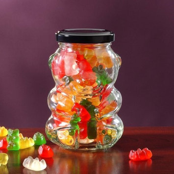 Luxury Gourmet Sweets Teddy Bear Glass Gift Jar with Gummy Bears