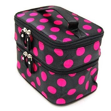 Womens Fashion Wave Dot Case Makeup Double Cosmetic Hand Bag