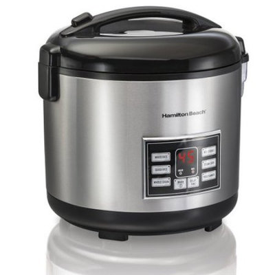 Hamilton Beach Rice & Hot Cereal Cooker, 10-Cups uncooked resulting in 20-Cups (Cooked), with Steam & Rinse Basket (37543)