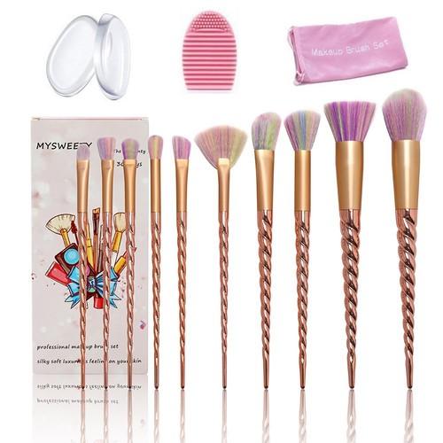 14PCS Makeup Brushes Set, MYSWEETY Unicorn Makeup Brushes 10Pcs Foundation Powder Cream Blush Brush Kits + 2pcs Silicone Makeup Sponge + 1pc Makeup Brush Egg + 1pc Makeup Brush Bag