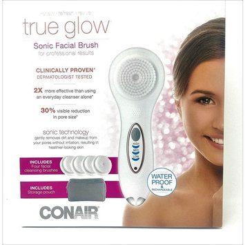 True Glow Sonic Facial Brush for professional results renew revive refresh with 4 facial cleansing brushes and storage pouch