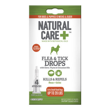 Natural Care Spot-On Flea and Tick Drops, XS/S for Dogs 16-40 lbs, 4 Months Supply