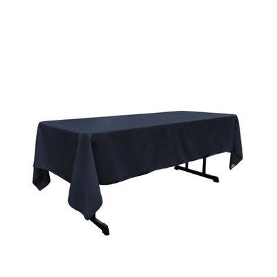 LA Linen TCpop60x144-NavyP72 Polyester Poplin Rectangular Tablecloth Navy Blue - 60 x 144 in.