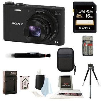 Sony DSC-WX350/B 18 MP Digital Camera (Black) Gadget Kit
