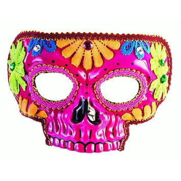 Day Of The Dead Pink Mask Halloween Costume Accessory