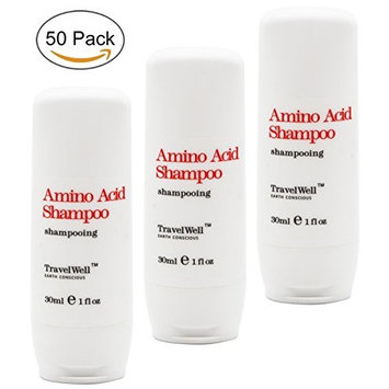 TRAVELWELL Hotel Toiletries Amenities Travel Size Guest Shampoo 1.0 Fl Oz/30ml, Individually Wrapped 50 Bottles per Box