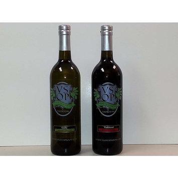VSOP Organic Garlic Infused Extra Virgin Olive Oil & Traditional 18yr Aged Dark Balsamic Vinegar of Modena (2 Bottle) Combo Pack