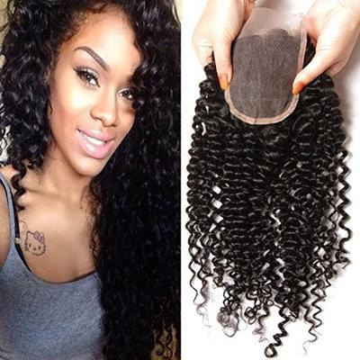 Klaiyi Hair Malaysian Curly Hair 4X4 Free Part Lace Closure 100% Virgin Human Hair Extensions Natural Color(16 inch)