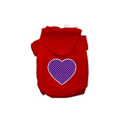 Mirage Pet Products Purple Swiss Dot Heart Screen Print Pet Hoodies Red Size Med (12)