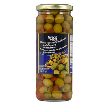 Wal-mart Stores, Inc. Great Value Olives, Minced Pimiento and Capers, 10 oz