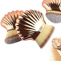 MAANGE 3Pcs Beautiful Shell Type Foundation Cosmetic Brush Rose Gold Brown Brush Fenleo