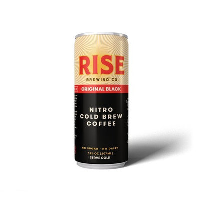 RISE Brewing Co.   Original Black Nitro Cold Brew Coffee (12 7 fl. oz. Cans) - Sugar, Gluten & Dairy Free   Organic, Non-GMO Ingredients   Clean Energy, Low Acidity, Naturally Sweet   0 Calories