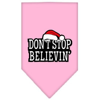 Mirage Pet Products 662512 SMLPK Dont Stop Believin Screen Print Bandana Light Pink Small