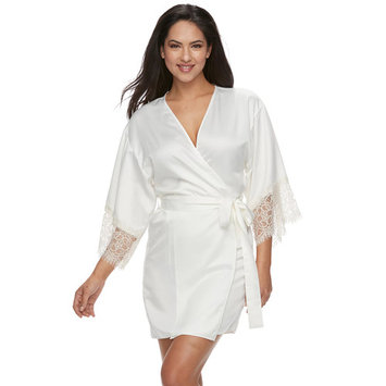 Women's Flora by Flora Nikrooz Lace-Trim Charmeuse Wrap Robe