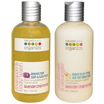 Nature's Baby All Natural Organic Lavender Chamomile Baby Shampoo & Body Wash and Conditioner With Cucumber, Calendula, Vanilla, Shea Butter and Vitamin E for Baby, Kids and Adults, 8 fl. oz. each