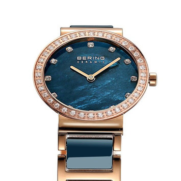 Bering Women's 29mm Gold-Tone Ceramic Band Steel Case S. Sapphire Quartz MOP Dial Analog Watch 10729-767