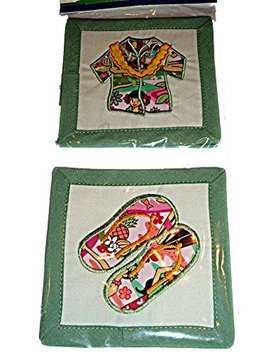 East Of Maui Hawaiian Store HAWAIIAN QUILTED & EMBROIDERED COASTERS Uke, Aloha Shirt, Flip Flops, Palm Tree-Set of 4