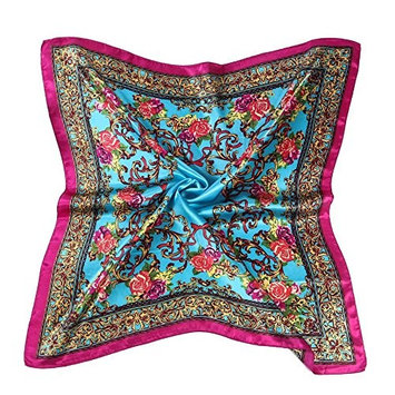 Datework Women Floral Printed Square Scarf Head Wrap Shawl