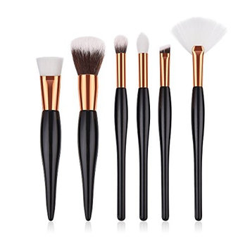 Premium Makeup Brushes Set Powder Foundation Eyeshadow Eyebrow Blending Make Up Tool Wooden Handle Soft Synthetic Hair for Women Beauty(6 piece)